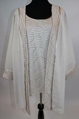 NEW CATHERINES MOTHER OF BRIDE IVORY 2pc JACKET SPARKLE BLOUSE TOP PLUS 28