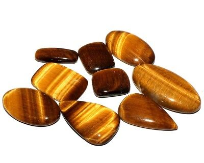 NATURAL TIGER'S EYE 100Cts MIX SHAPE CABOCHON 9pcs GOLDEN FLASH GEMSTONE LOT