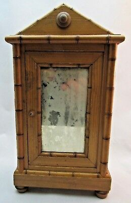 French Antique Fashion Doll Faux Bamboo Miniature Armoire Salesman Sample 1870