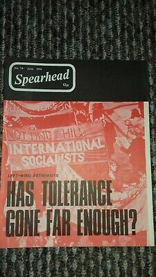 spearhead magazine no 76 june 1974 john tyndall bnp nf good condition for age