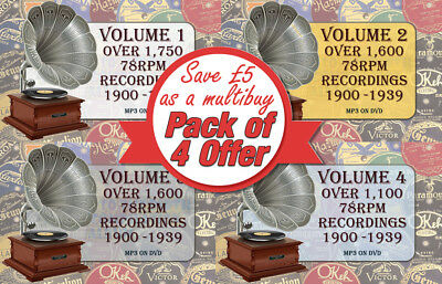 78rpm Gramaphone Record Collection Multibuy all 4 Volumes 1900's-1930's MP3 DVDs