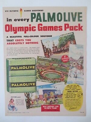 Vintage Australian advertising 1956 ad PALMOLIVE SOAP melbourne olympics art