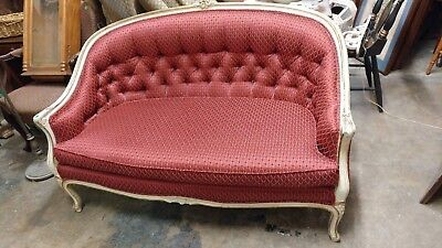 Antique French Provincial Settee Couch - Wonderful New RED Fabric - Excellent Co