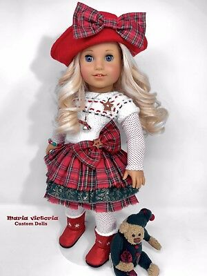 American Girl Doll ~ Custom OOAK Christmas Holiday Curly Blonde Hair Blue Eyes