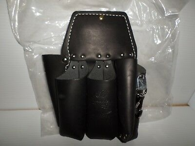*NEW*Buckingham 42266-BL Double Back Holster Lineman Arborist Leather Tool Pouch
