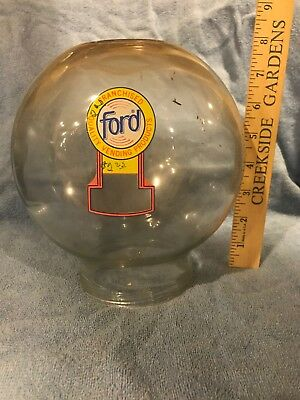 *VINTAGE FORD* Gumball *OLD GLASS GLOBE* Penny Decal *ONE CENT* Peanut *ESTATE*