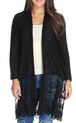 New! Vocal Long Open Cardigan Duster Sweater w// Lace /& Stones Plus 1XL 2XL 3XL