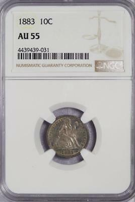 1883 Seated Liberty Silver Dime NGC AU 55 -Nice Tone - *DoubleJCoins* - 2003-32