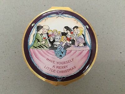 """""""Have Yourself A Merry"""" Xmas Halcyon Days Enamel Music Box 2 1/4"""" x 1 3/4"""" Tall"""