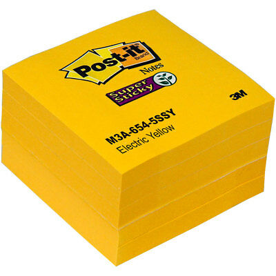 """Post-it Notes 654-5SSY Electric Yellow, Super Sticky, 3 x 3"""", Pack of 5 Pads"""