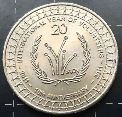 2011 AUSTRALIAN 20 CENT COIN - INTERNATIONAL YEAR OF VOLUNTEERS 10th ANNIVERSARY