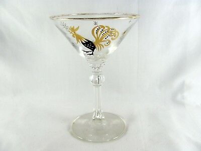 """8 Libbey Chanticleer Rooster Liquor Glass, 6"""", cocktail, atomic star, gold, vtg"""