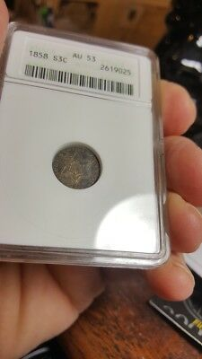 1858 3 cent silver, type II, BOLD CH AU-53 Vintage ANACS & digit HOLDER