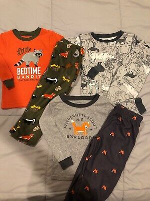 Lot Of 3 Carters Two Piece Long Sleeve With Pants Pajama Sets Size 2T EUC