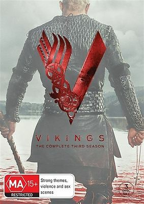 Vikings : Season 3 (DVD, 2015, 3-Disc Set) R-4-LIKE NEW-FREE POST IN AUSTRALIA