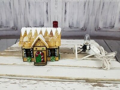 Forma Vitrum village xmas holiday signed cottage house home peppermint stained