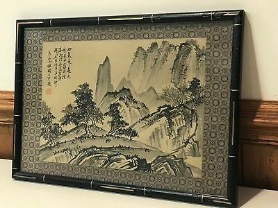1970s scenic Chinese art painting from Hong Kong