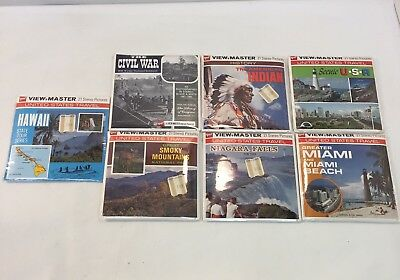 New Sealed Lot Of 7 Vintage View-Master Reels Hawaii Civil War Miami Scenic USA