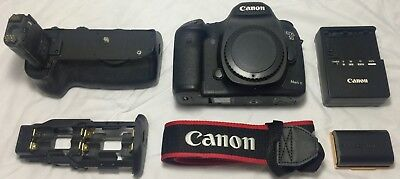 Canon EOS 5D Mark III 22.3MP Digital SLR Camera - Body, charger, and grip.