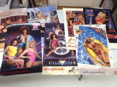VINTAGE Snap-On Tools Pin-Up Girls Calendar Lot of 7 - 1985-1990, 1994