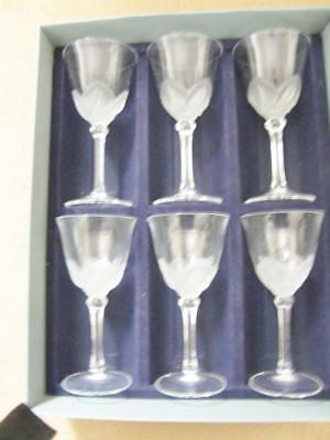 """6 J G Durand Florence Frosted Satine Crystal Wine Water Glasses 6.5"""""""