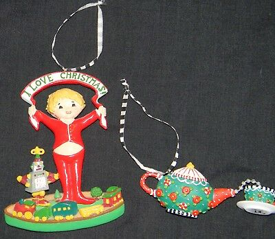 Lot of 2 Mary Englebreit Ornaments Boy in PJ's and Teapot With Teacup Banner LN
