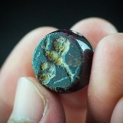 Authentic Ancient garnet Intaglio Roman man Holds Spear intaglio Signet bead