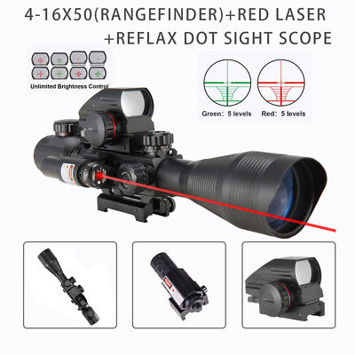 3in1 Rangefinder 4-12X50EG Reticle Riflescope w/Red Laser Sight Red Dot Sight