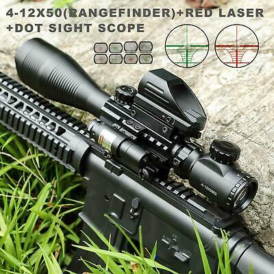 Pinty 4-12X50 Rangefinder Reticle Rifle Scope w/Red Laser Sight Reflex Dot Sight