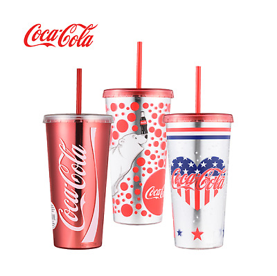 Coca-Cola Graphics Chiller Water Bottle Portable Cup Plastic Straw 473ml (17oz)3