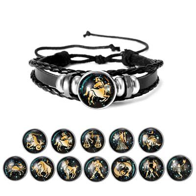 12 Zodiac Signs Braided ZINC Leather Fashion Vintage Bracelet Men Womens Punk