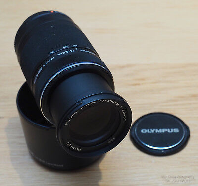 Mint Olympus ED 75-300mm f4.8-6.7 II lens for micro 4/3rds, with JJC hood