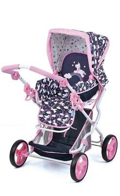 Magical Unicorn Girls Dolls Pram Carrycot Stroller Buggy 2 in 1 Baby Carrier NEW