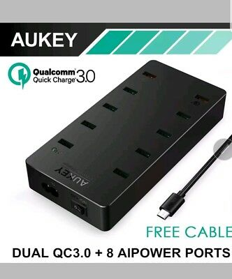 AUKEY 10-Port USB Wall Charger with Dual Quick Charge 3.0 Port (PA-