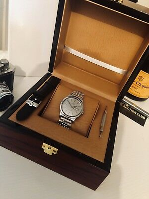 Omega Mens Grey Dial Geneve Day Date Automatic Cal1022 Vintage Steel Watch + Box