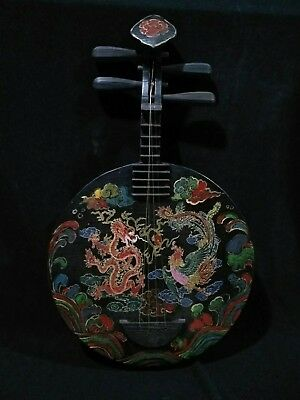 Antique china handwork lacquer painting dragon phoenix 阮 Musical Instruments