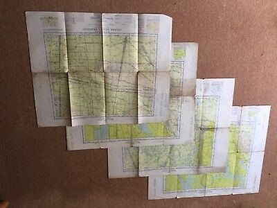 Collection of Six Old Air Navigation Maps