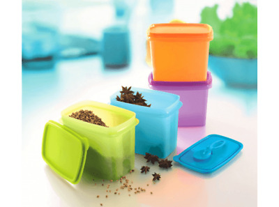 4 New Tupperware Rectangular Rectangle Spice Saver Containers With Spoon Set