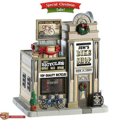 Lemax Village Collection Christmas Building Jen's Bike Shop Porcelain Lighted