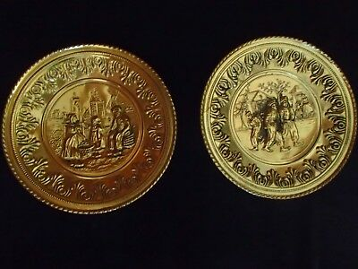 "12"" Pair Of Lombard Hammered English Brass Wall Hanging Holland Scenes"