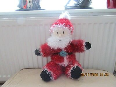 hand knit father Christmas in tinsel yarn 16 inch / 41 cm tall