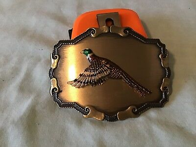 Vintage 1970s Rain Tree 3D Pheasant Brass Belt Buckle Hunting Shotgun Rare