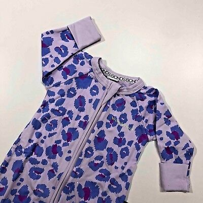 BONDS Zip Wondersuit Lilac Leopard Print NEW 0-3 3-6 months Unisex