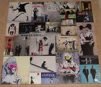 """Banksy Collage 15"""" x 15"""" Canvas print on a wooden stretcher frame"""