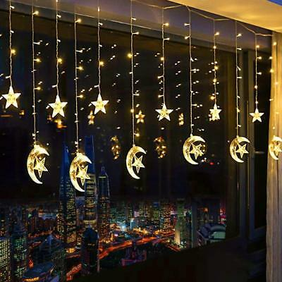 138 LED Star Moon Fairy String Curtain Twinkle Lights Xmas Wedding Party Lamp