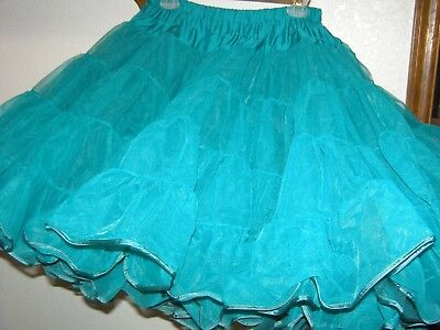 Green Teal Lg Waist 26-40 Inches Square Dance Crinoline Petticoat 3 Lyr 5 Tier
