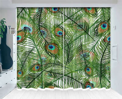 Peacock Thin Leaves 3D Curtains Blockout Photo Printing Curtains Drape Fabric