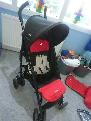 JOIE red and black NITRO STROLLER/BUGGY Includes Raincover and footmuff