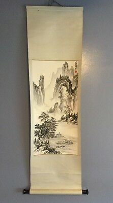 Art Asian Mountain Water Scene Scroll Decorative Wall Hanging Poster VTG (#4991)