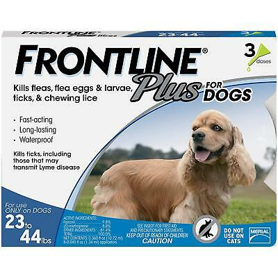 Frontline Plus for Dogs Medium Dog (23-44 pound) Flea and Tick Treatment, 3 Dose